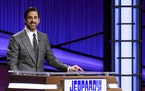 "Green Bay Packers quarterback Aaron Rodgers as he guest hosts the game show ""Jeopardy!"""