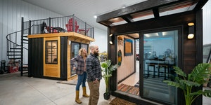 Andy and Sarah Berg showed off their prototypes of a TikiTainer at right, and a home studio, left, at their Latitude Studios showroom and factory floo