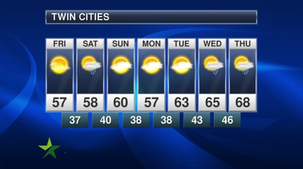 Afternoon forecast: Sunny, cool, high 57