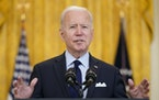 President Joe Biden speaks about the April jobs report in the East Room of the White House, Friday, May 7, 2021, in Washington.