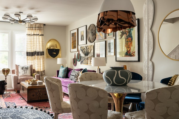 Interior designer Beth Diana Smith brought her maximalist style to life in her Irvington, N.J. living room with framed kuba cloth, a vintage African s