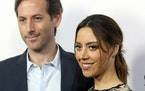 "In this 2017 file photo, Aubrey Plaza, right, and Jeff Baena arrive at the premiere of ""The Little Hours"" at the 2017 Los Angeles Film Festival in"