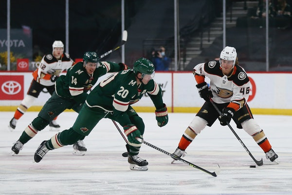 The Wild outlasted the Ducks 4-3 in overtime on Friday at Xcel Energy Center.