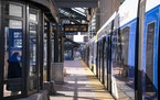 April 2021 A nearly empty Blue Line station downtown reflected 2020's 56% ridership drop.  BACKGROUND INFORMATION: Metro Transit Light Rail stops at