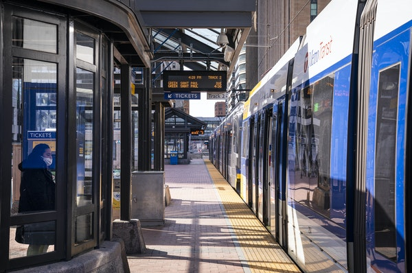 In April, a nearly empty Blue Line station downtown reflected 2020's 56% ridership drop.