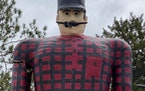 The cause of Paul Bunyan's broken arm has been revealed -- hangers-on. (Photo from Bemidji mayor's office)