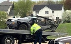 Police responded to the crash, involving four people in a compact-size sedan, about 7 a.m. Saturday near the intersection of Dunkirk and Lawndale lane