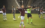 Colorado Rapids midfielder Cole Bassett celebrates the team's win against Minnesota United in an MLS soccer match Saturday