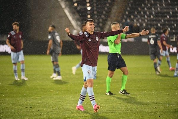 Colorado Rapids midfielder Cole Bassett celebrates the team's win against Minnesota United in an MLS soccer match Saturday