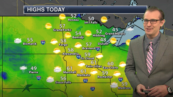 Morning forecast: Temps climb to upper 50s, mostly sunny