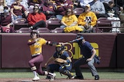 Natalie DenHartog made it back-to-back Gophers home runs in the first inning Sunday.