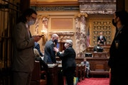 Sen. Ann Rest stopped to talk with Senate Majority Leader Paul Gazelka toward the end of a floor session Wednesday. One week remains for Minnesota leg