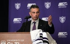 Rico Blasi was introduced as St. Thomas men's hockey coach on April 6.