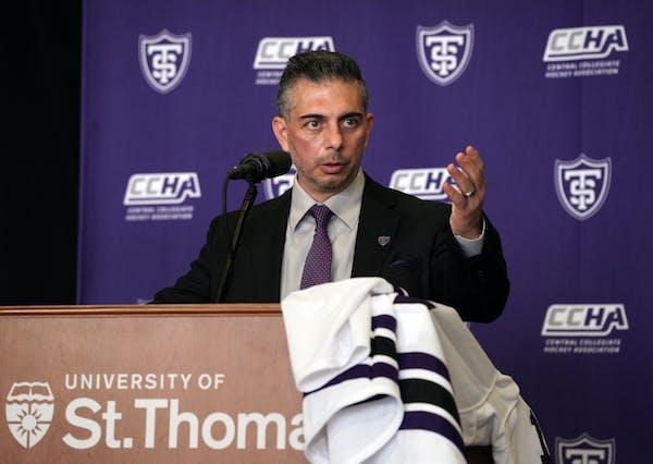 Rico Blasi was introduced as St. Thomas men's hockey coach on April 6.
