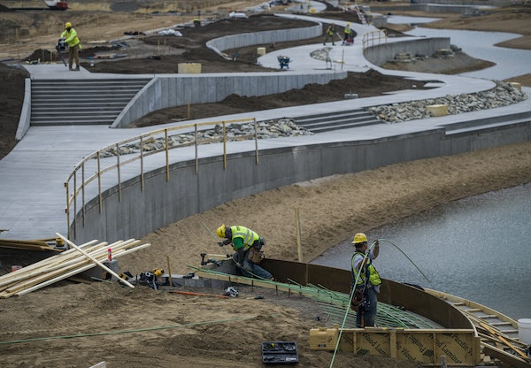 At the former Ford Plant in St. Paul, Minnesota on May 10, 2021, the central water feature is an important part of sending treated storm water to Hidd
