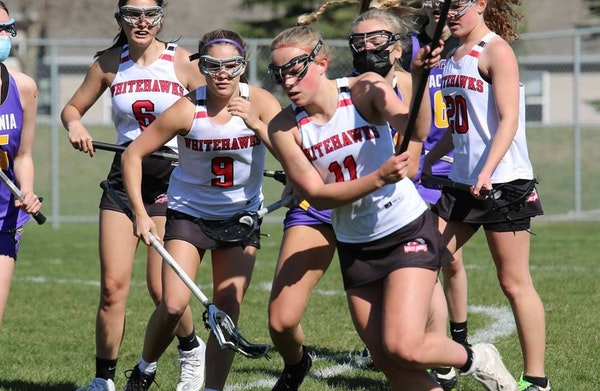 Mound Westonka senior Grace Peterson went on the attack in a recent girls' lacrosse victory over Waconia.