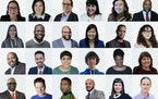 2021 Bush Foundation fellows: Top row, from left, are Jodi Rave Spotted Bear of Twin Buttes, N.D.; Natalie Nicholson of Bemidji; Wizipan Little Elk of
