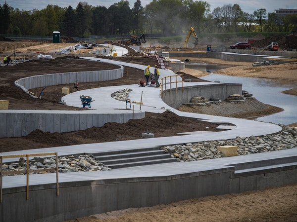 At the old Ford site being redeveloped into housing, a central water feature will capture runoff and send filtered stormwater down to Hidden Falls Par