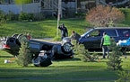 The scene of a fatal rollover near N. Glenwood and Xerxes avenues Tuesday in Minneapolis.