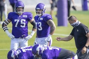 Vikings offensive guard Dru Samia, right, faces an uphill battle to keep his roster spot in 2021.