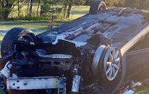 This car crashed Tuesday morning in Minneapolis after losing a tire.