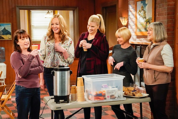 """From left, Beth Hall as Wendy, Allison Janney as Bonnie, Kristen Johnston as Tammy, Jaime Pressly as Jill, and Mimi Kennedy as Marjorie in """"Mom."""""""
