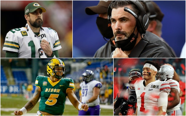 Clockwise from top left: Aaron Rodgers, Kevin Stefanski, Justin Fields and Trey Lance.