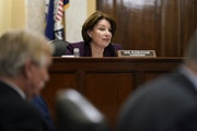 Sen. Amy Klobuchar spoke during a hearing of the Senate Rules Committee she chairs, as the committee debated election reform on Tuesday.