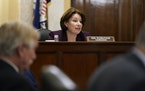 Sen. Amy Klobuchar speaks during a hearing of the Senate Rules Committee she chairs, as the committee debates election reform on Tuesday, May 11, 2021