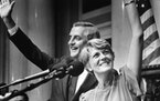 Walter Mondale (at left) chose Geraldine Ferraro (right) to be his running mate in the 1984 US presidential election. They are shown at the Minnesota