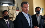 California Gov. Gavin Newsom speaks at a news conference at the Kearney Vista Apartments on Tuesday, May 11, 2021 in San Diego, about a $12 billion pa