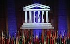 In this 2017 photo, the logo of the United Nations Educational, Scientific and Cultural Organisation (UNESCO) is seen during the 39th session of the G