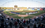 The St. Paul Saints and the Iowa Cubs stood for the National Anthem before the St. Paul Saints home opener.