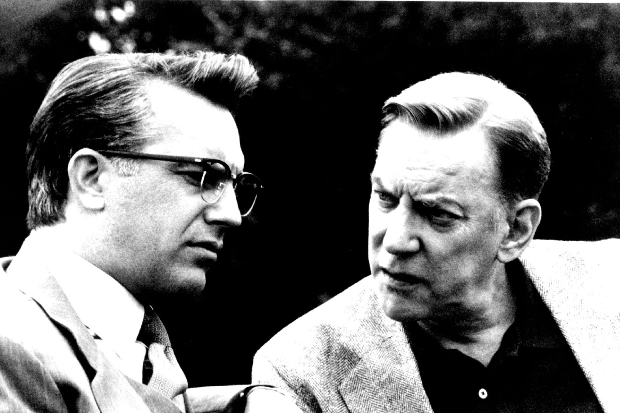 New Orleans District Attorney Jim Garrison (Kevin Costner) secretly meets with Colonel X (Donald Sutherland) in 'JFK.'