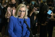 Rep. Liz Cheney, R-Wyo., speaks to reporters after House Republicans voted to oust her from her leadership post as chair of the House Republican Confe