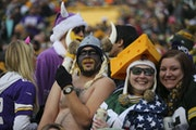 A Vikings fan went shirtless for much of the team's game at Lambeau Field on December 24, 2016.