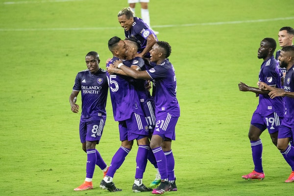 Orlando City, shown here celebrating a 3-0 win over FC Cincinnati on May 1, is 1-3-0 on the season.