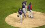 Twins starting pitcher J.A. Happ walks off the mound after being relieved by manager Rocco Baldelli during the fourth inning