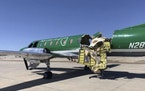 This image from CBS Denver shows a Key Lime Air Metroliner that landed safely at Centennial Airport after a mid-air collision near Denver on Wednesday
