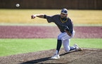 Augustana pitcher Parker Hanson throws during a baseball game against Minnesota Crookston.