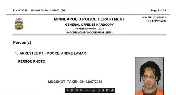"A screenshot of Andre Moore's case file uses the booking photo of his battered face, while he is referred to at top as ""Moore Money Mooore problem"