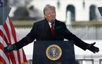 U.S. President Donald Trump speaks to his supporters at the Save America Rally on the Ellipse on Wednesday, Jan. 6, 2021, near the White House in Wash