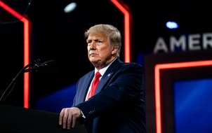 Former President Donald Trump speaks at the Conservative Political Action Conference in Orlando on Feb. 28, 2021. A St. Cloud law firm is in turmoil a