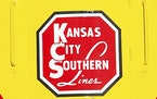 The logo of Kansas City Southern is down on a restored 1954 Kansas City Southern passenger locomotive at Union Station in Kansas City, Mo.