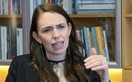 FILE - In this Dec. 16, 2020, file photo, New Zealand's Prime Minister Jacinda Ardern speaks during an interviewed in her office at the parliament i