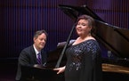 Jamie Barton was accompanied on piano by composer Jake Heggie during Wednesday's Schubert Club recital, livestreamed from Ordway Concert Hall in St.