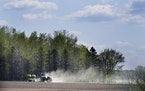 Dust from a lack of rain drifts skyward as a farmer does field work near Sherburne National Wildlife Refuge Thursday in Sherburne County.