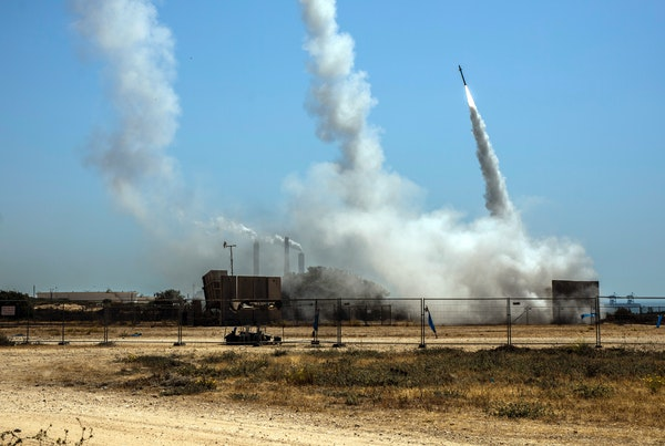 Israel's anti-missile system in Ashkelon, Israel intercepting rockets from Gaza on Wednesday, May 12, 2021. A new round of Israeli-Palestinian fight