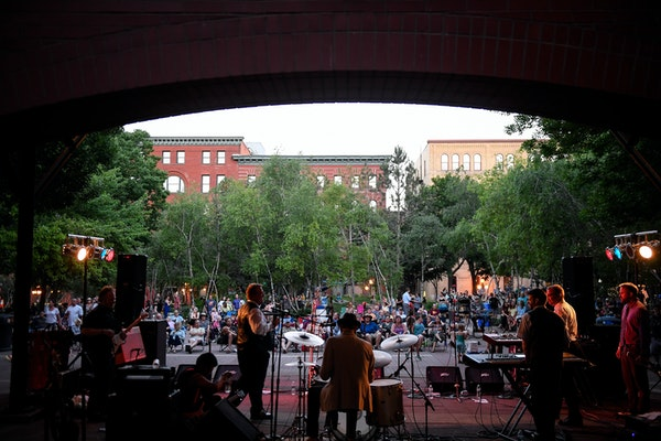 The view from behind the stage in 2017 during the Music in Mears series, now called Lowertown Sounds.