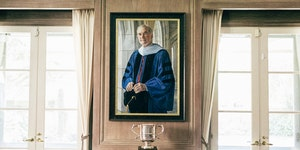 A portrait of David Swensen hangs inside a residence renamed in his honor at Yale University in New Haven, Conn.